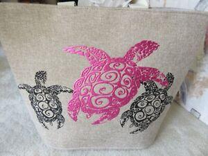 Women/'s Jumbo Summer Beach Tote Bag With Foil Print Silver// Black Pineapple NWT