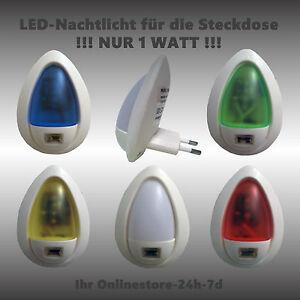 led notlicht nachtlicht kinderlicht steckdosenlicht mit d mmerungsschalter 230v ebay. Black Bedroom Furniture Sets. Home Design Ideas