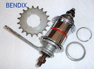 """Bendix Red Band Rear Hub With Sprocket And Brake Lever U.S.A. AS FOUND """"AS IS"""""""