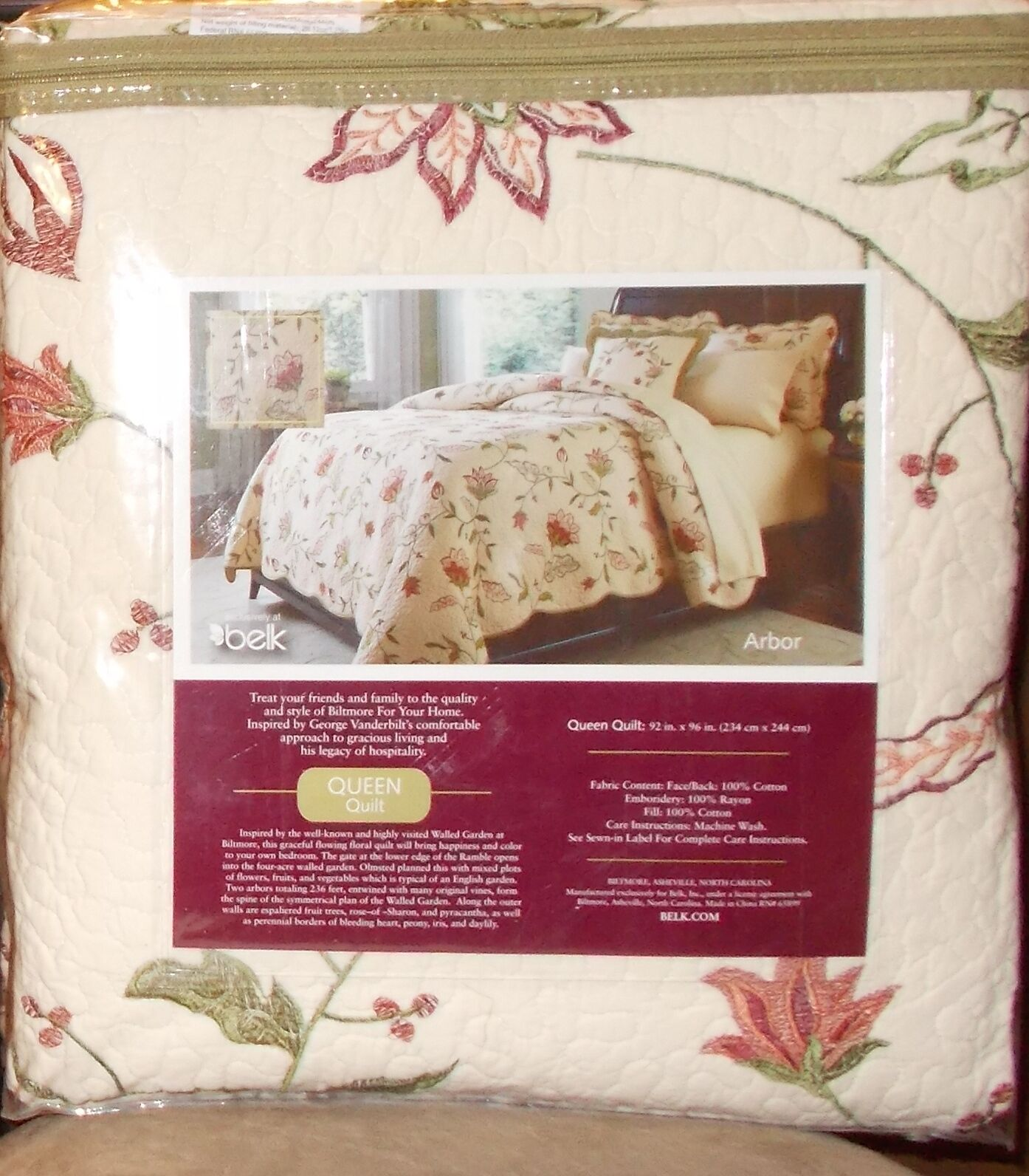 Biltmore ARBOR Queen Quilt & 2 Standard Shams NIP,  Retail  308.00
