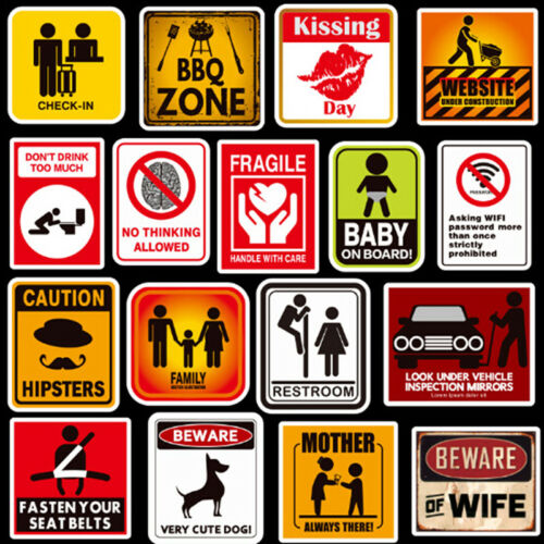 50Pcs warning signs stickers logo security safety labels graffiti sticker FZ