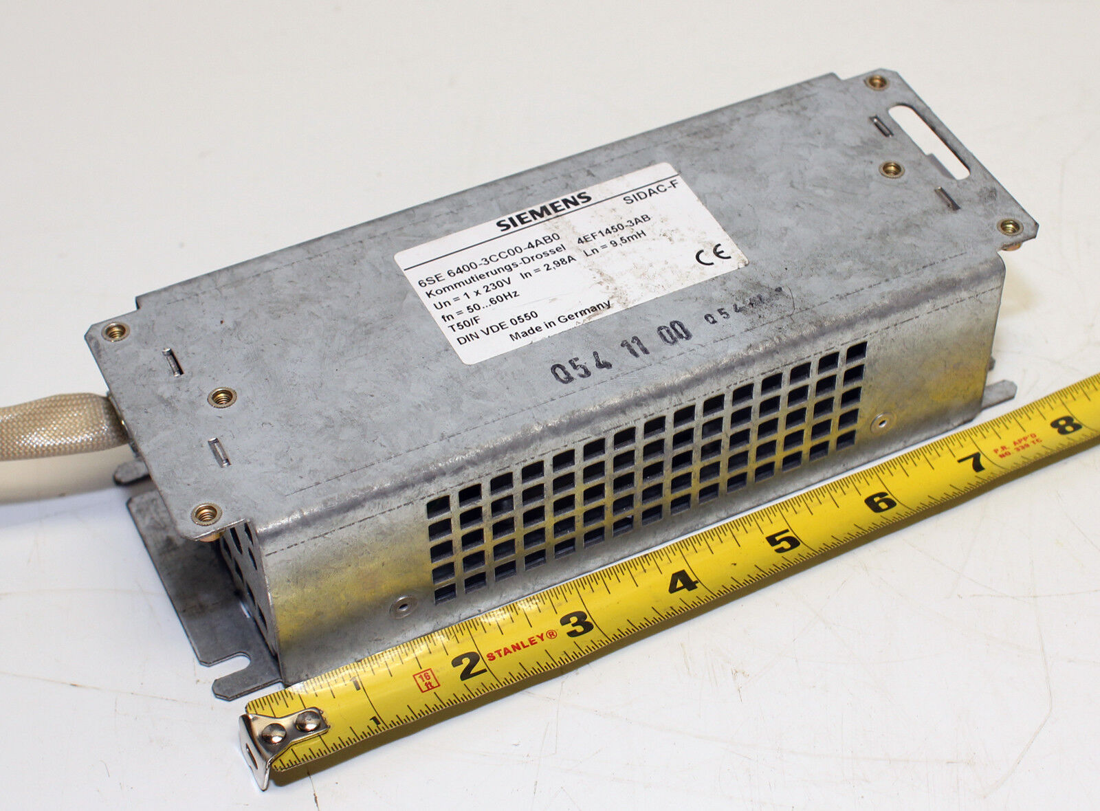 Siemens SIDAC-F  6SE6400-3CC00-4AB0 AC Communications Choke-USED