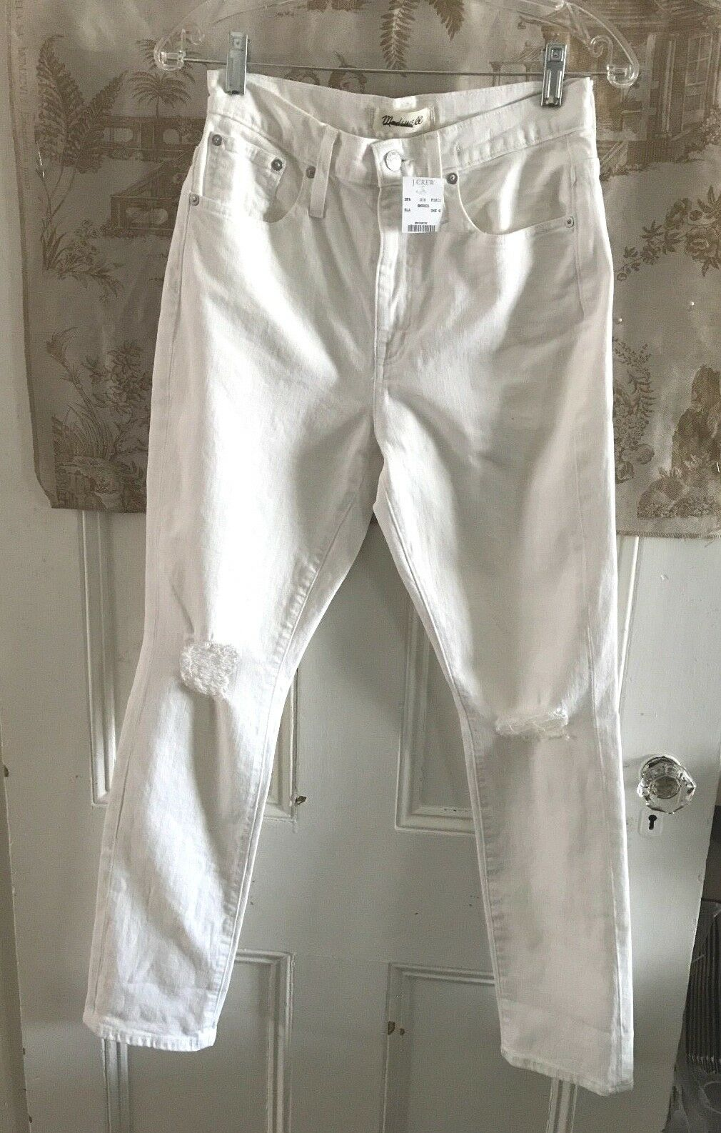 NEW MADEWELL HIGH RISE THE SLIM BOYJEAN JEANS TILE WHITE DESTRUCTED  SIZE 26