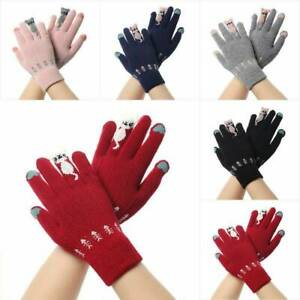 Winter-Warm-Womens-Cute-Cat-Print-Knitted-Gloves-Wool-Gloves-lady-Mittens-Univer
