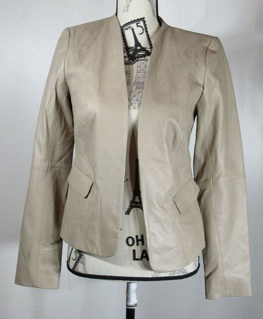 EMERSON ROSE Open Front Leather Jacket, Beige, Size Small