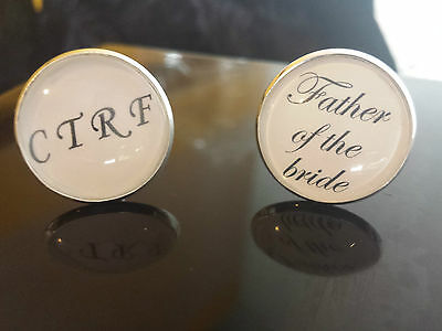 CUFFLINKS MENS WEDDING DAY TITTLE & HIS INITIAL PERSONALISED THANK YOU GIFT