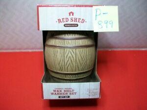 BRAND NEW RED SHED CERAMIC BARREL WAX MELT WARMER SET W/ MULLED APPLE CIDER WAX