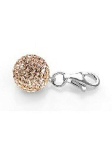 SPARKLY CRYSTAL PAVE CZECH CRYSTALS CHAMPAGNE PEACH 10mm  BALL CLIP ON CHARM