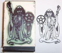 Wizard Holding Staff & Pentagram Rubber Stamp Detailed
