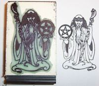 Wizard Holding Staff & Pentagram Rubber Stamp Detailed