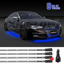 BLUE Led Under Car Truck Glow Neon Strip Lights Kit 3 Pattern 8pc 24in Tube