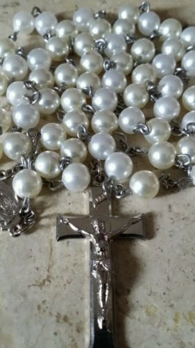 Set of White Pearl Rosary Beads With Silver Colored Crucifix Pendant + Medallion
