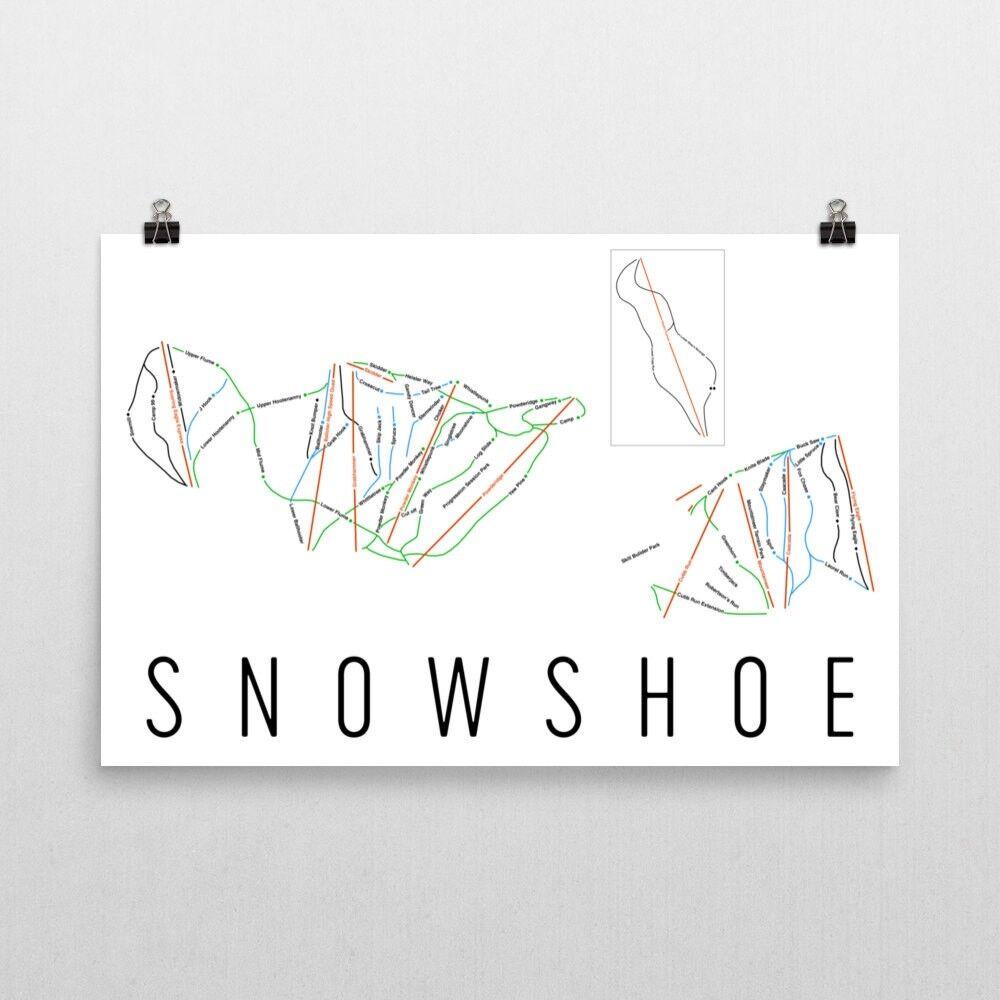 Snowschuhe Mountain Ski Trail Map Poster