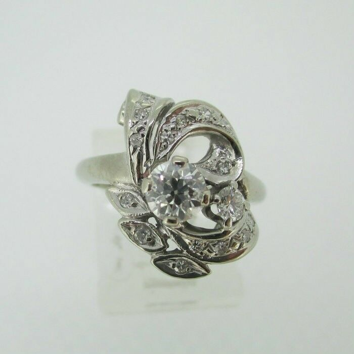 Vintage 14k White gold Approx .65ct TW Diamond Ring Size 4 1 2