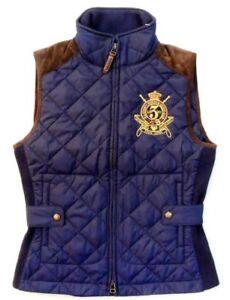 Women-Ralph-Lauren-Bomber-Hagan-Barn-Suede-Equestrian-Crest-Quilt-Vest-Jacket-S