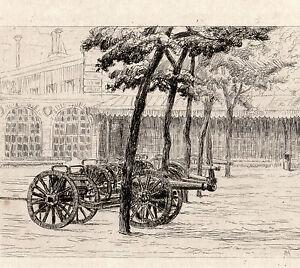 MILITAIRES-et-CANONS-2-Eaux-Fortes-19e-circa-1870-Signe-MALLE