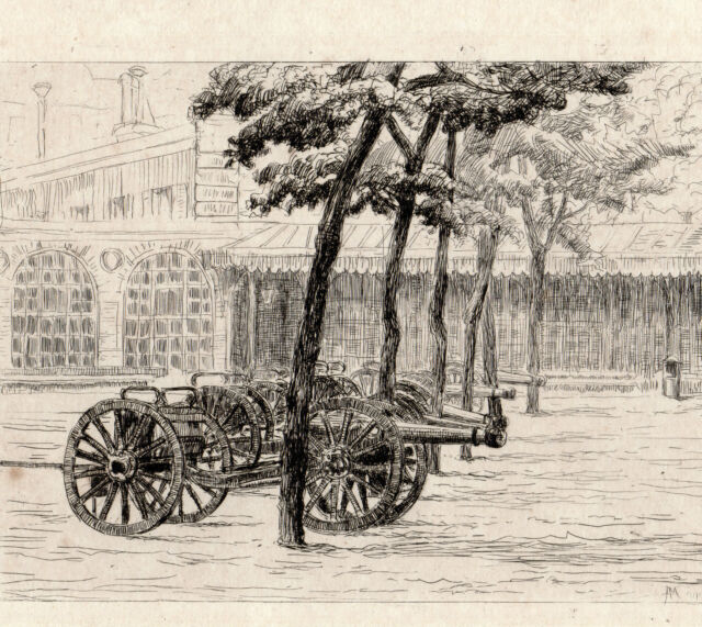 MILITAIRES et CANONS 2 Eaux Fortes 19e circa 1870 Signé MALLE