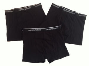 Emporio-Armani-Boxers-Mens-Underwear-3-Pack-Trunks-Black-New-UK-Authentic