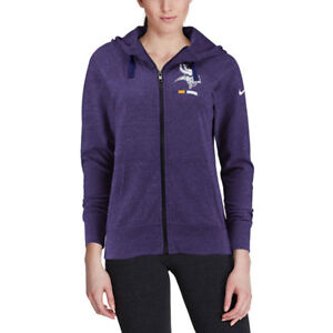 outlet store e56c8 d70cd Details about Minnesota Vikings Nike NFL Women's Gym Vintage Full Zip Hoodie