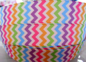 CHEVRON-MULTI-colors-Grosgrain-Ribbon-7-8-034-Bow-Cake-Card-Craft-2-yds-5-yds