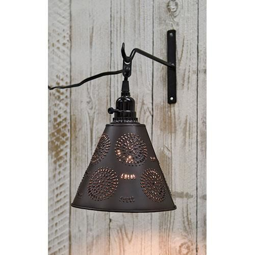 New Primitive Colonial Antique Style PUNCHED TIN PENDANT LIGHT Hanging HookLamp