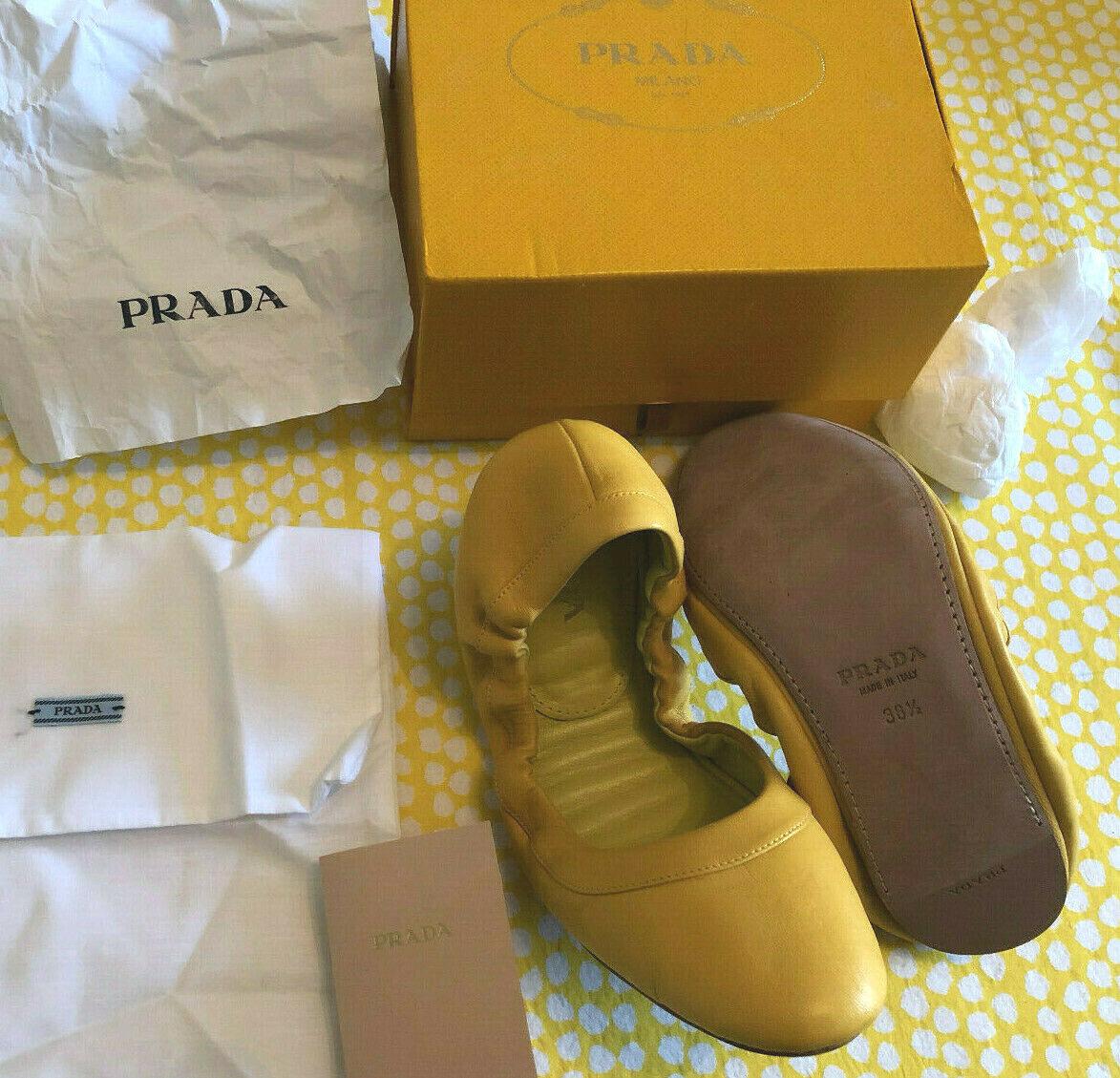 Nos broche de estilo Ballet Flats Prada, mostaza, nuevo en caja sin uso, tamaño 38.5