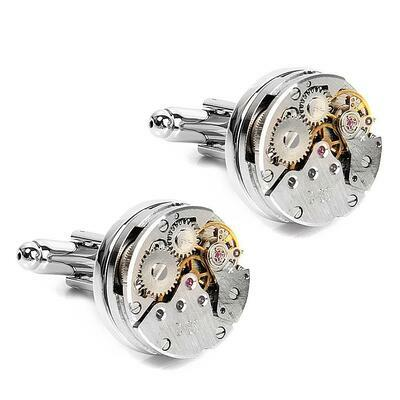 Silver Retro Steampunk Watch Movement Clock Cufflinks Cuff Link Wedding Gift