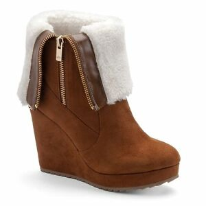 $89 NWT Womens Juicy Couture Fold-Over Platform Wedge Kasia Boots Cogniac