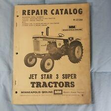 Vtg Minneapolis Moline Jet Star 3 Super Tractor Repair Part Catalog Manual R2139