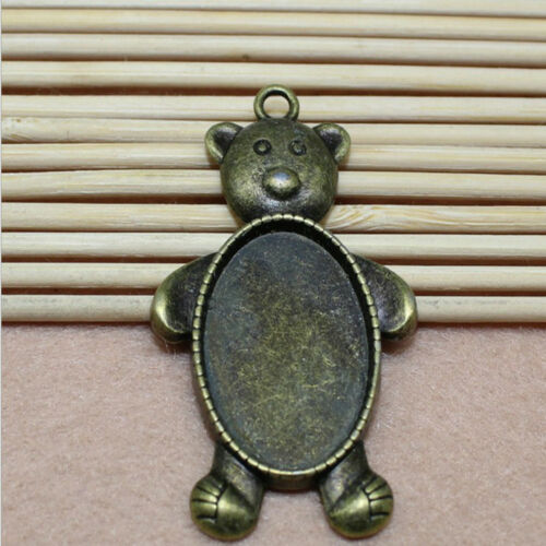 5//15pcs Antique Silver Cameo delicate 18x25mm Cabochon Base Setting Charm Bear