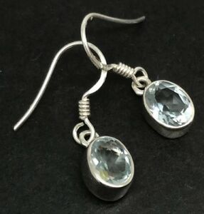 Image Is Loading Aquamarine Gemstone Oval Drop Earrings Solid Sterling Silver