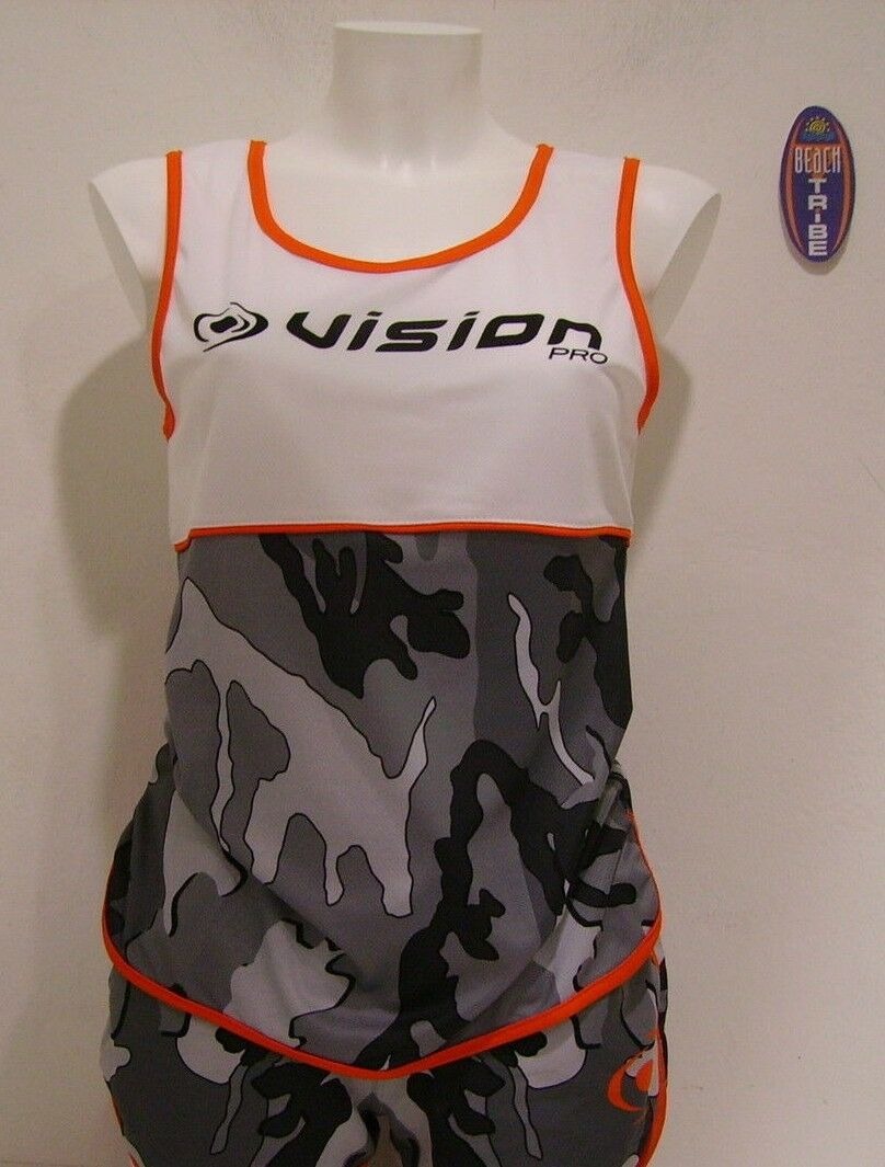 Vision Tank Top Sleeveless  Beach Tennis Woman Camo Grey Mimetic  come to choose your own sports style