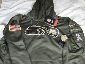 differently 3bd55 cc505 Details about New Mens Nike 2015 NFL Seattle Seahawks Salute to Service STS  KO Hoodie 2XL