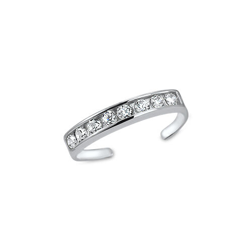 925 Sterling Silver Toe Ring Round Cubic Zirconia CZ Jewelry Adjustable