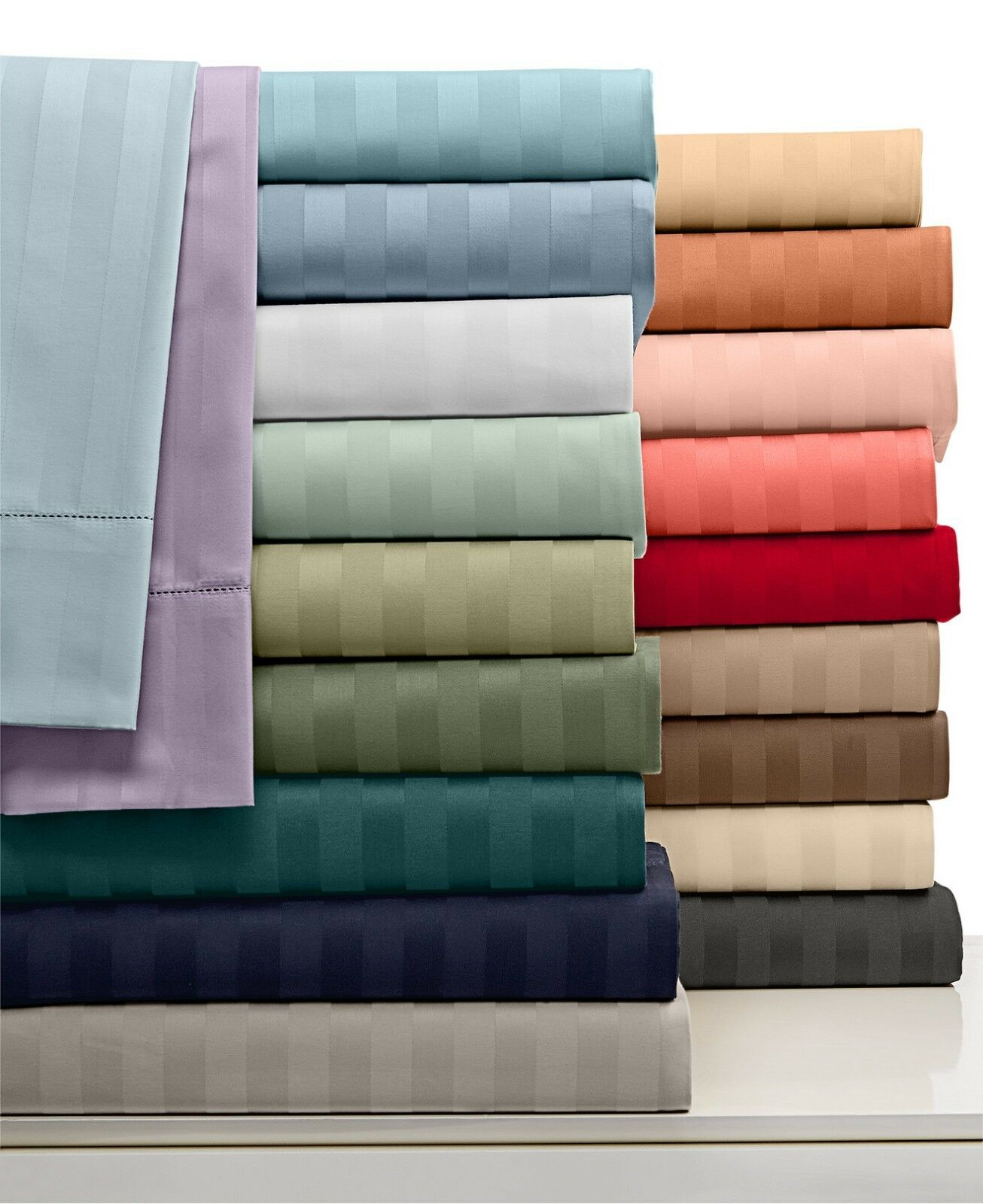 1000tc Egyptian Cotton 3 PCs Bedding Flat Sheet Set Twin XL Size Striped colors
