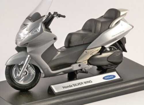 Welly 1:18 Honda Silver Wing Motorcycle Bike Model Toy New In Box