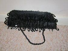 Gorgeous little BLACK evening bag CLUTCH Beaded/SEQUIN sparkle handbag Wedding