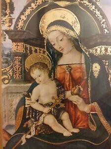 Madonna con bambino Stampa in bellissima cornice lavorata misure 26.5x40x1 cm