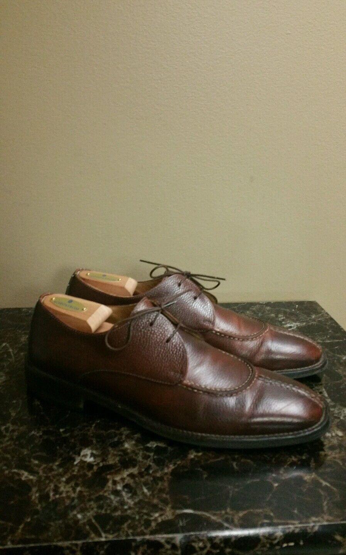 Cole Haan Brown Split-Toe Pebble-Grain Oxford Leather shoes Mens 10.5 M