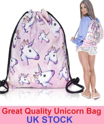 Unicorn Emoji Backpack Bag School Gym Laundry PE Swim Drawstring Girls Gift Idea