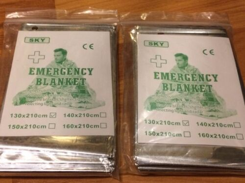 B71 NEW 2 PACK • Emergency Blanket Survival Safety REFLECTS 90/% OF BODY HEAT
