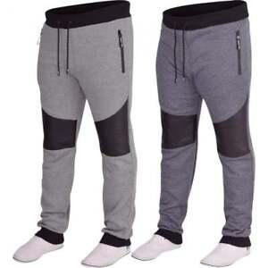 Mens-D-Rock-Slim-Fit-Gym-Jogger-Fleece-Tracksuit-Jog-Pants-Cuffed-Bottoms-Zip