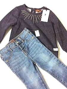 New 7 for All Mankind Girls' 2 Pieces of Jeans and Shirt Size 24 Months