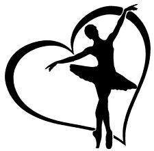 BALLERINA HEART Vinyl Decal Sticker Window Wall Bumper Dancer Love Ballet Studio