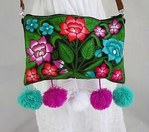 Image Is Loading Mexican Embroidered Bag Pom Shoulder Handbag Boho