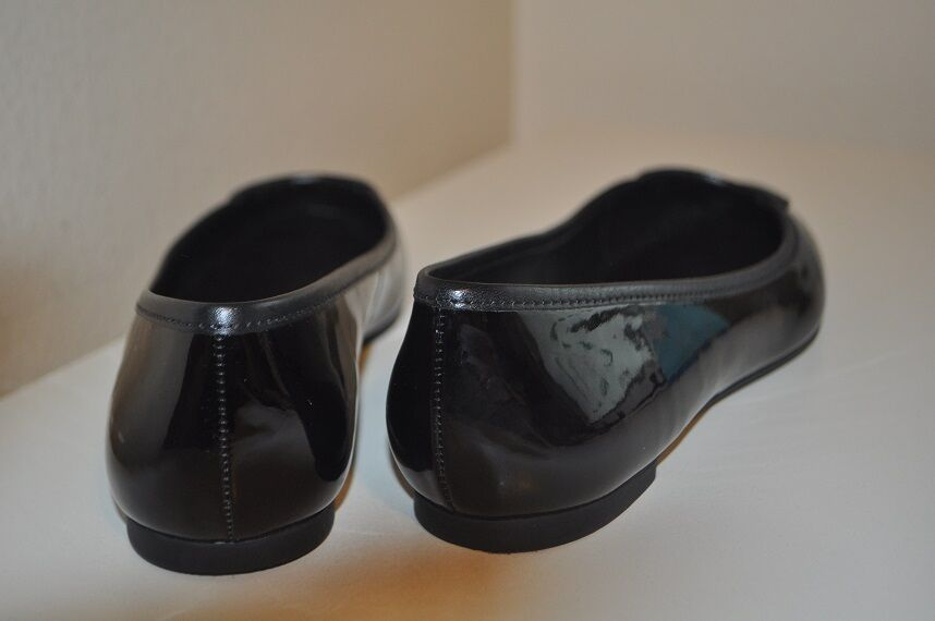 NEW NEW NEW Tory Burch LOUISA Logo Ballet Flat shoes Black Patent Calf Leather Sz 7.5 4cb2ee