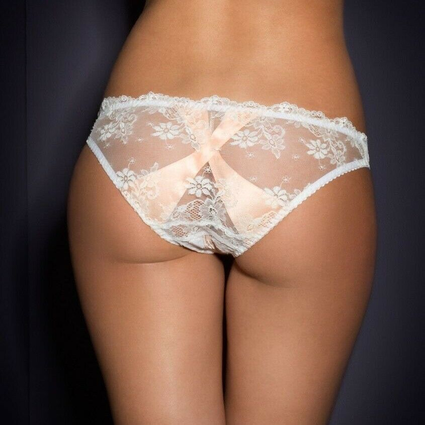 Agent Provocateur Rare Maddy Blanc/rose Dentelle Brief Taille Moyenne 3 Uk 10-12 Bnwt