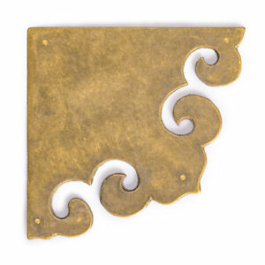 CBH 2 Chinese Brass THREE SIDES Box Corner Hardware Plates
