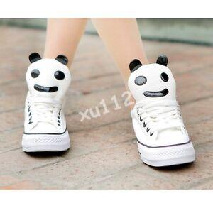 Women-Gilrs-Panda-Canvas-Platform-Plimsoll-Flats-Ankle-Sneakers-Lace-Up-Shoes