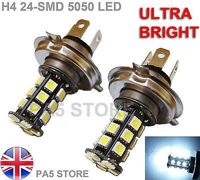 2x H4 24 LED 5050 ULTRA BRIGHT White 6000K Car Bulb Fog Light DRL light 12V UK